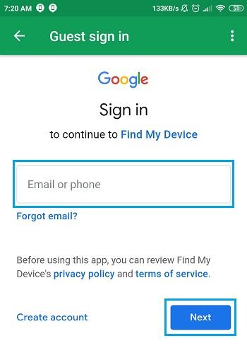 kolom alamat email untuk login