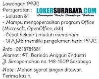 Loker Surabaya di PT. Barindo Anggun Industri Juli 2020