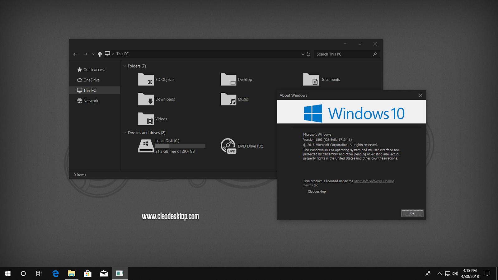 UxThemePatcher For Windows10 April 2018 Update 1803 - Cleodesktop I