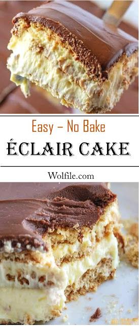 EASY NO-BAKE ECLAIR CAKE #Eclair #Cake
