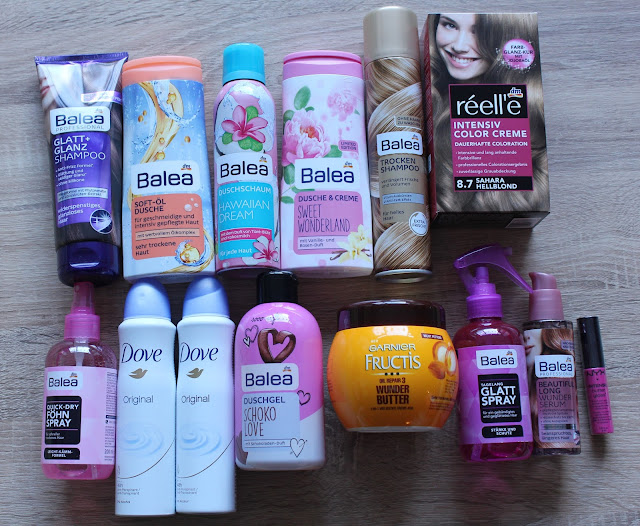 Verschillende producten van Balea, Dove en andere merken