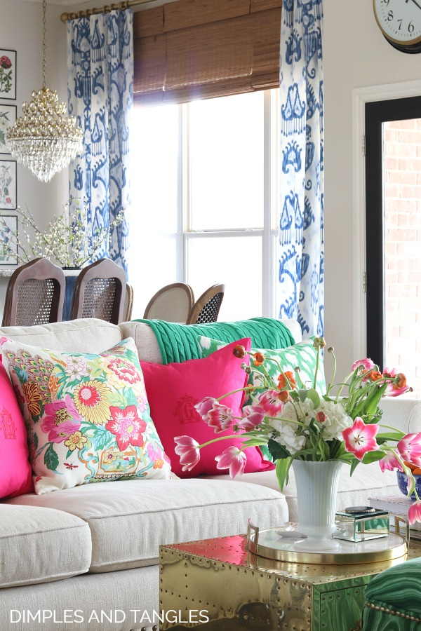 blue and white ikat curtains, robert allen khandar fabric, kate spade leokat, waverly portobello vase, bold color design