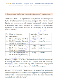 sample board resolution for change in authorised signatory of bank account