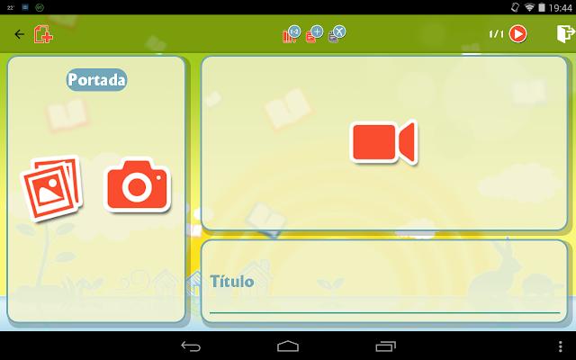 Captura de pantalla de la composición de cuentos en la app TeCuento