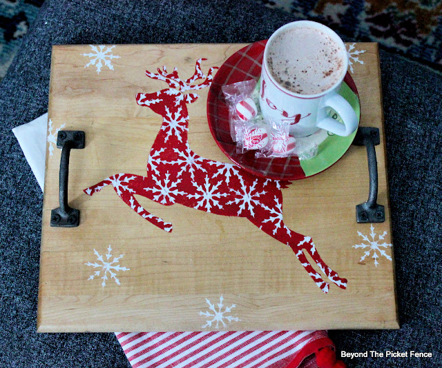 Christmas Tray with a Thrift Store Find and Old Sign Stencils
