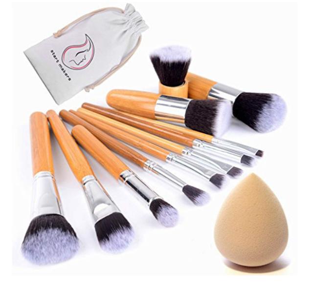 Start Makers Bamboo Makeup Brushes -12pcs Natural Make up Brushes - Vegan Make up Brush Set -Pro Cosmetics Kabuki Brush - Makeup Brushes Sets - Extremely Soft Makeup Brush Set - Beauty Makeup Sponge