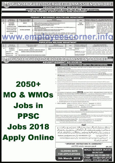 PPSC Doctors Jobs in Punjab 2018