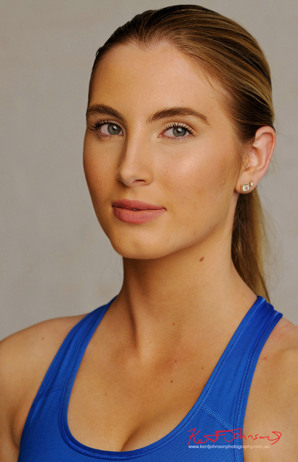 Tight headshot, activewear. Studio Modelling Portfolio, Fitness & Fashion by Kent Johnson, Sydney, Australia.