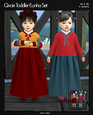 qvoix: Qvoix Toddler Eunha SetKorean Toddler Cc Sims 4