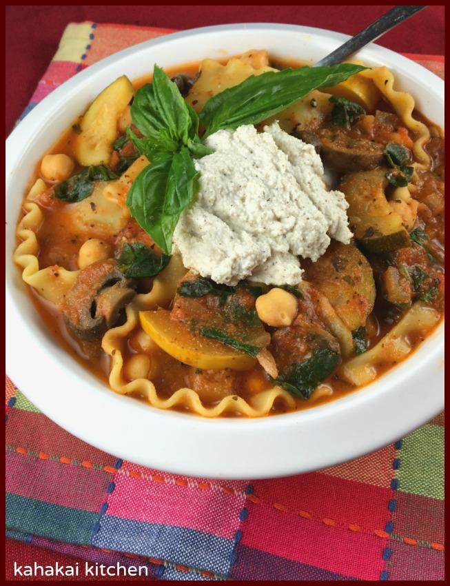 kahakai kitchen vegan lasagna soup with herbed macadamia ricotta