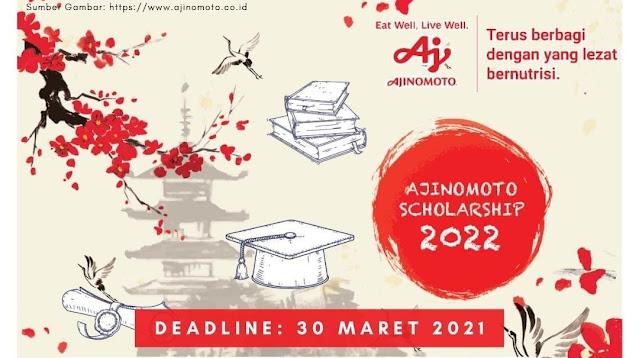 BEASISWA PENUH KULIAH S2 DI JEPANG OLEH AJINOMOTO SCHOLARSHIP Deadline 30 Maret 2021
