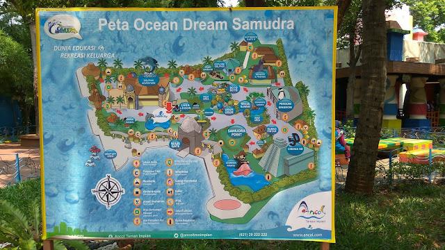 Peta Ocean Dream yang menampilan wahana dan pentas satwa (dok.windhu)