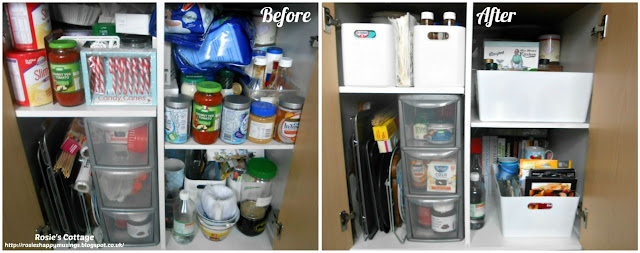 Kitchen Cabinet Re-Organisation: Before & after: I'm so pleased with how this cabinet looked when completed.  It's so easy to use and I know exactly what's in there and exactly where everything is.