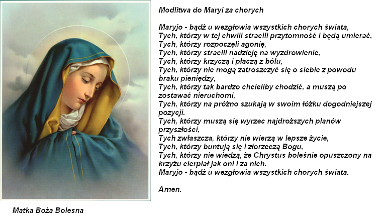 Znalezione obrazy dla zapytania modlitwa za chorych