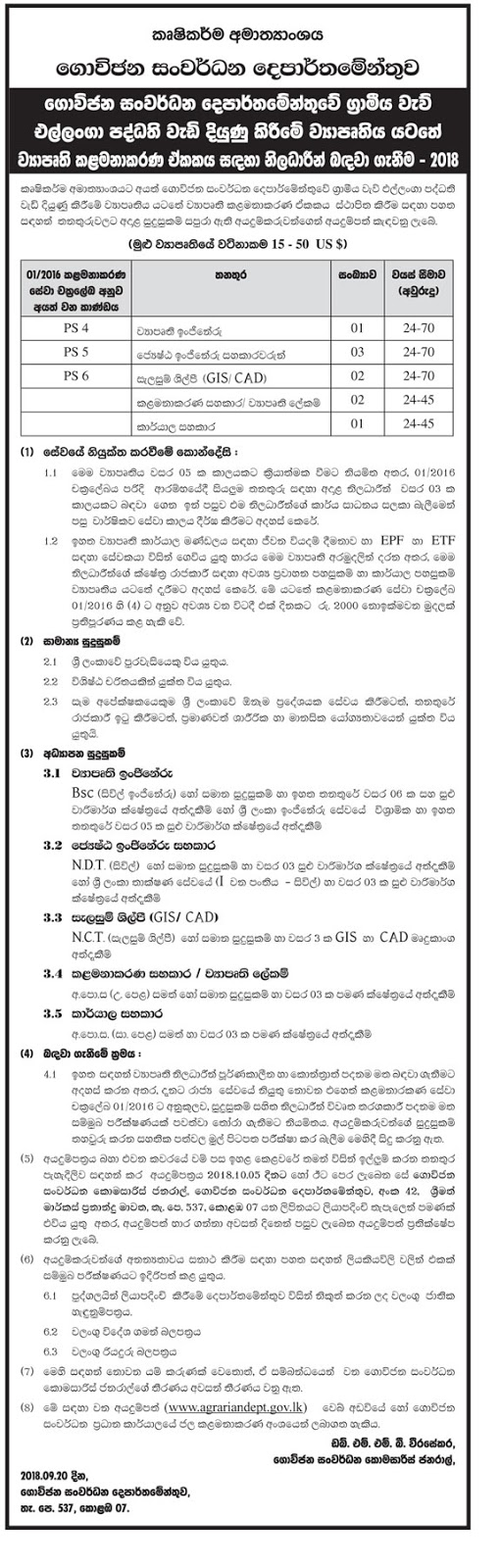 Vacancies at Department of Agrarian Development