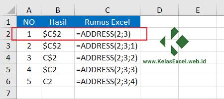 Contoh Fungsi Address Pada Rumus Excel 1