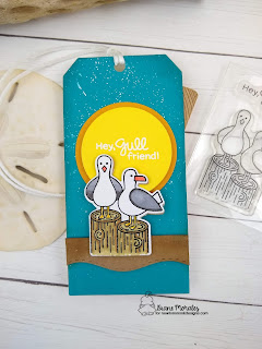 Gull Friends a tag by Diane Morales | Gull friends Stamp Set by Newton's Nook  Designs