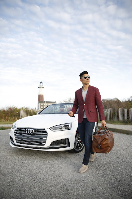 Leo Chan wearing Burgundy Blazer Casual Weekend Look, Audi Car | Asian Male Model and Blogger
