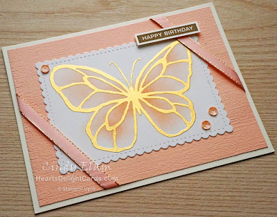 Heart's Delight Cards, Beautiful Day, Butterfly, Birthday Card, 2019-2020 Annual Catalog, Stampin' Up!, Emboss resist
