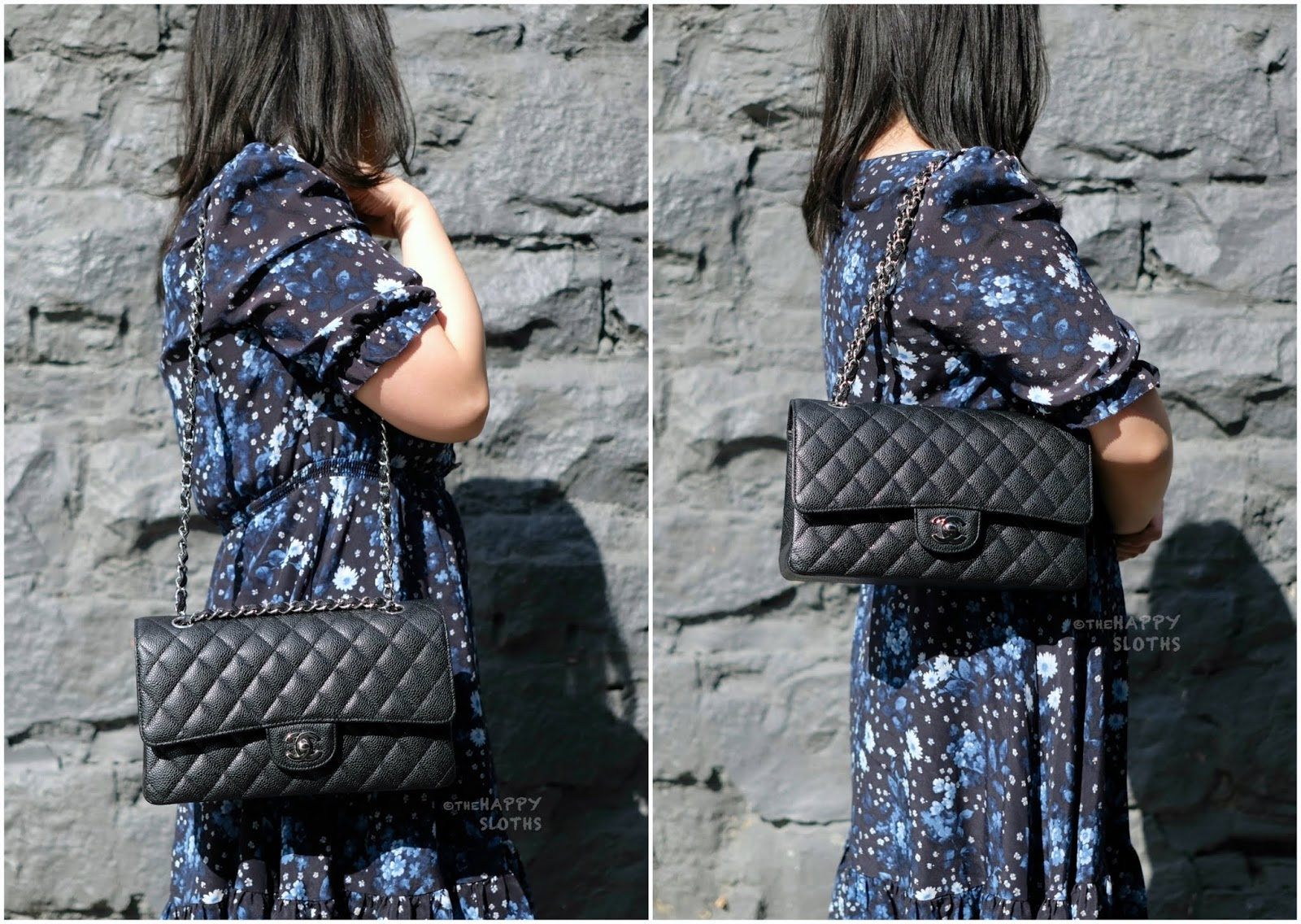 Chanel | Medium Classic Flap Handbag in Black Caviar Leather with Silver Hardware | Model Shot: Review