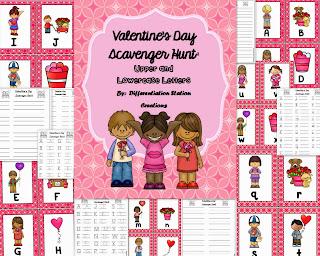 http://www.teacherspayteachers.com/Product/Valentines-Alphabet-Scavenger-Hunt-Upper-and-Lowercase-Center-Printables-1044562