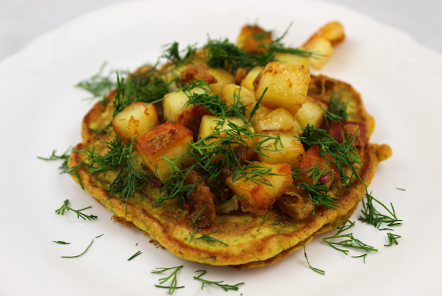 Chickpea Flour Pancakes with Crispy Paneer and Lime Pickle