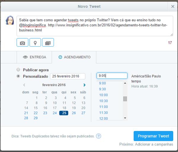 Twitter Ads - Agendamento de tweet.