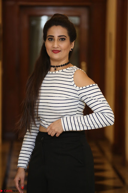 Manjusha in sleevelss crop top and black skirt at Darshakudu pre release ~  Exclusive Celebrities Galleries 001.JPG