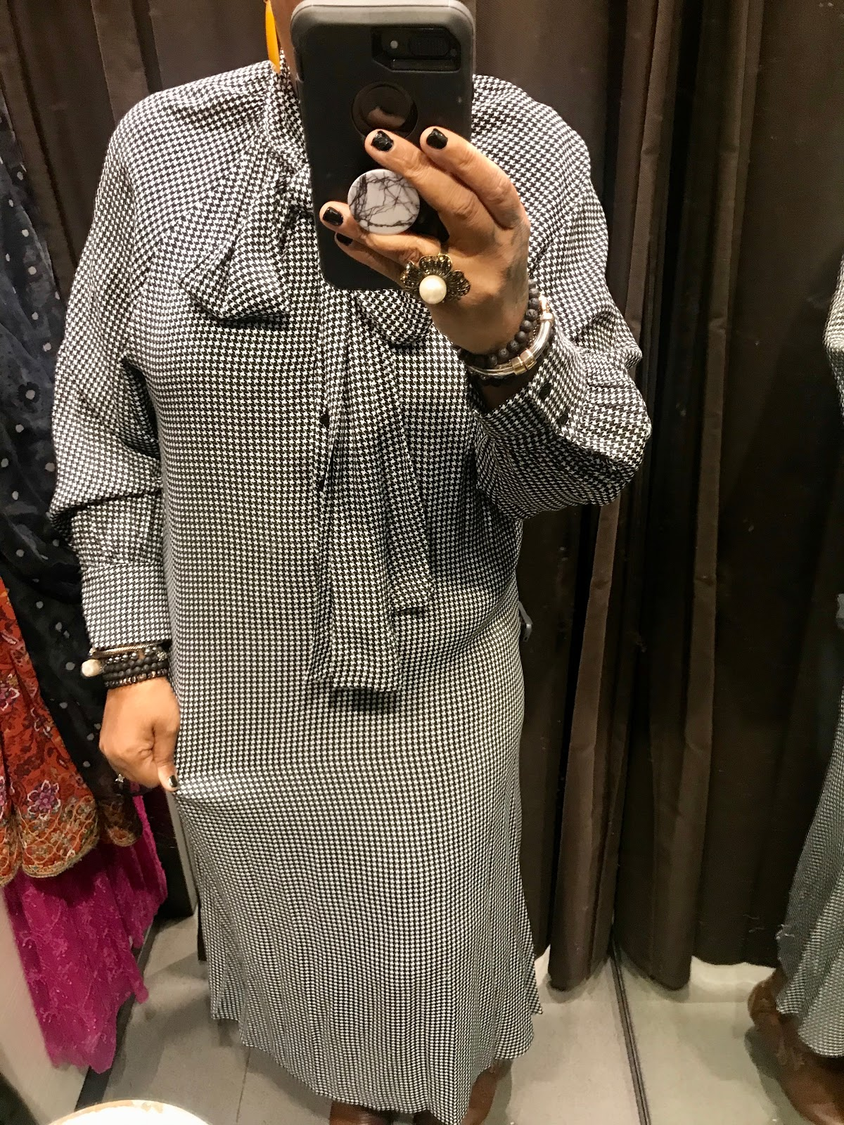 Black and White try on Dress from Zara Store in Dallas Texas