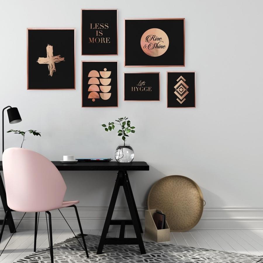 wnętrza, aranżacje, dome, home decor, dodatki, złoto, gold, miedź, copper, rose gold, plakat, poster