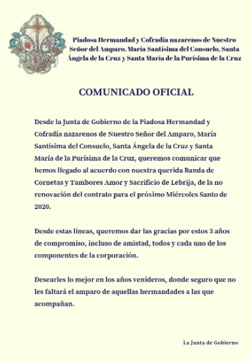"""La Hermandad del Consuelo de Jerez no continuará con la Banda de Cornetas y Tambores """"Amor y Sacrificio"""" de Lebrija para el Miércoles Santo de 2020"""
