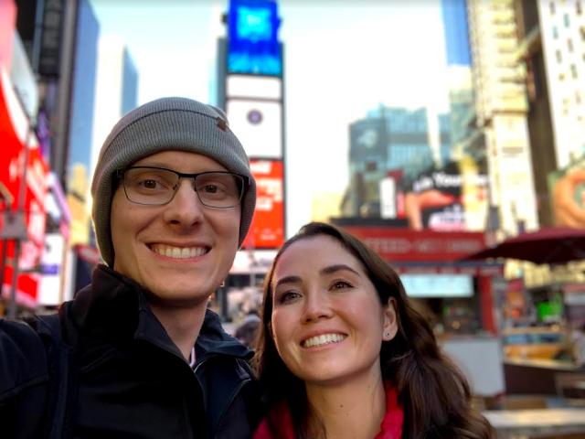 Dr. Guzal Khayrullina and her fiancé, fellow USU graduate Dr. Robert Geiger, in New York City. [Image Credit: Courtesy of Guzal Khayrullina]