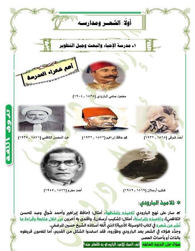ملخص أدب تالتة ثانوي - مدرسة الإحياء و البعث في 8 ورقات 1