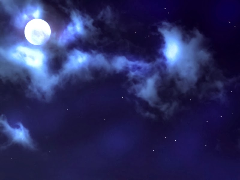 Anime Night Sky: Anime Landscape: Sky At Night With A Full Moon (Anime
