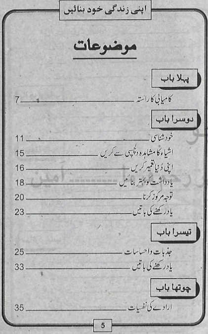 Contents of Apni Zindagi Khud Banae