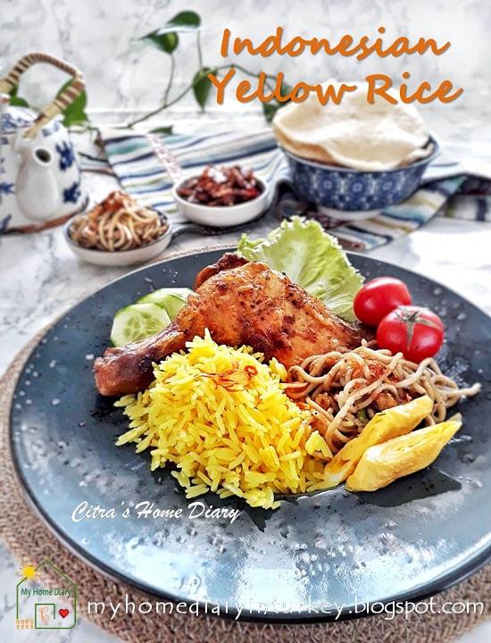 NASI KUNING DAN AYAM BAKAR BUMBU KUNING/ INDONESIAN COCONUT TURMERIC RICE AND GRILLED CHICKEN. Best and authentic recipe. | Çitra's Home Diary. #resepnasikuning #Indonesianfoodrecipe #yellowcoconutrice #turmericrice #coconutrice #foodphotographyrice #ricerecipe #asianfoodrecipe #endonezyamutfağı