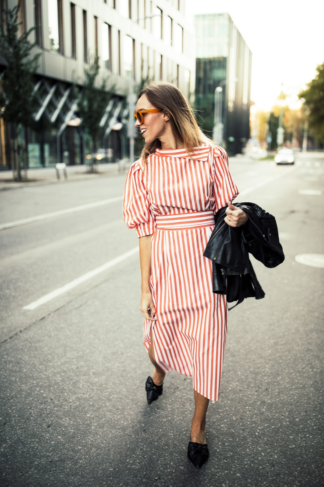 zara red striped dress outfit