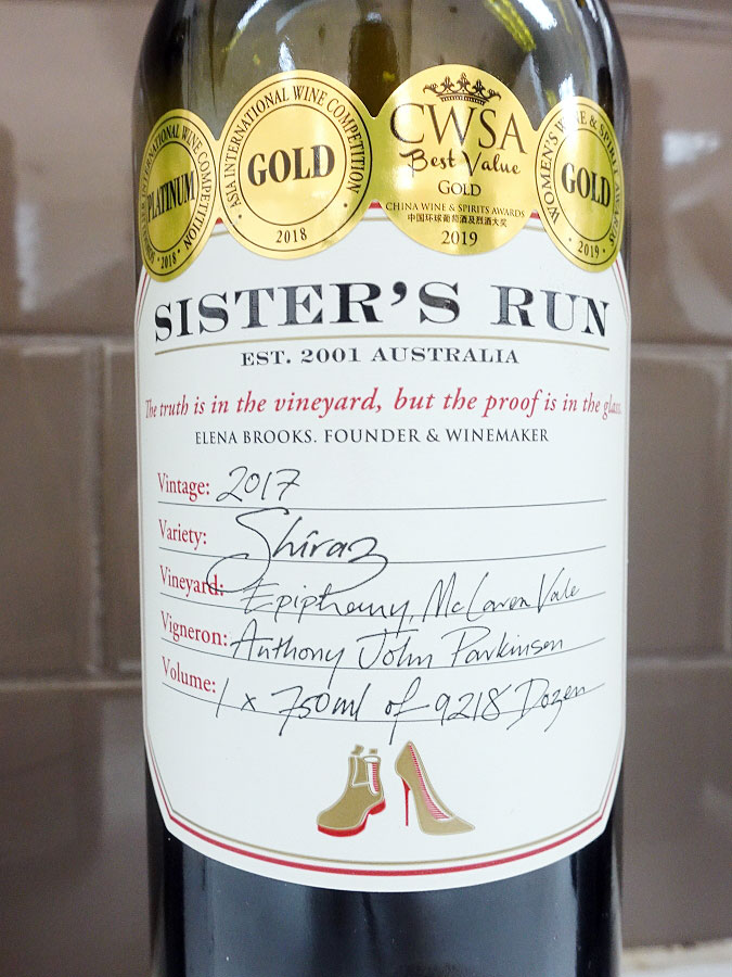 Sister's Run Epiphany Shiraz 2017 (88 pts)