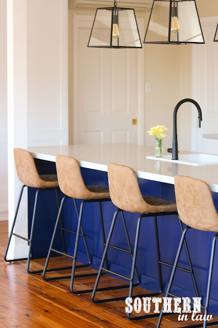 Brown Leather Bench Seats Hamptons Shaker Kitchen with Navy Island