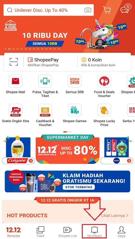 Menu Notifikasi di Aplikasi Smartphone Marketplace Shopee.