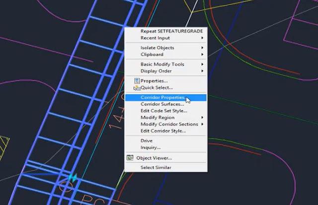 Corridor properties in Autodesk Civil 3D