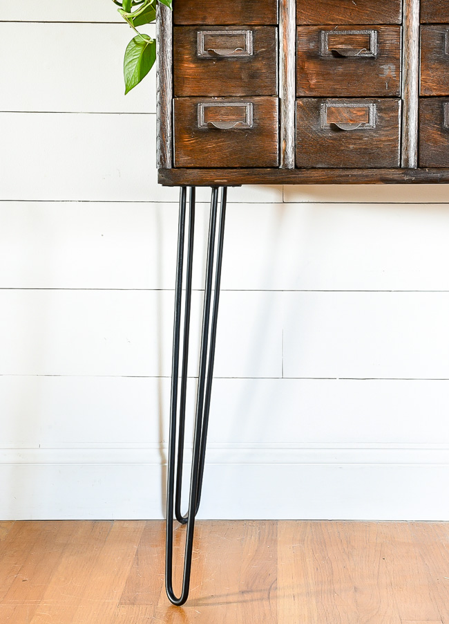 Steel hairpin legs on card catalog