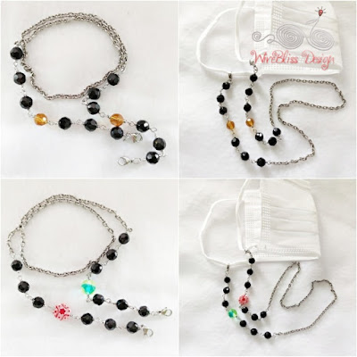 Wire Wrapped beaded face mask chains/ straps with stainless steel chain