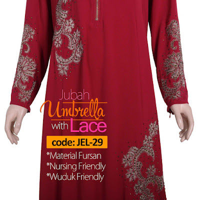 Jubah Umbrella Lace JEL-29 Red Depan