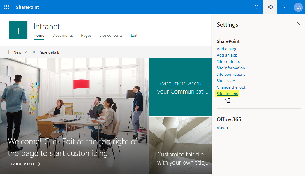sharepoint online create site design