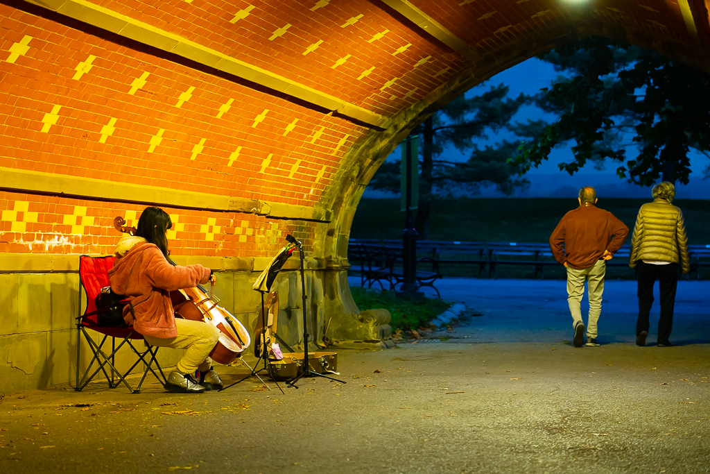 a photo of a musician playing cello in a tunnel in new york central park at night