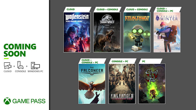 xbox game pass 2021 final fantasy 12 the zodiac age ghost of a tale jurassic world evolution project winter stealth inc. 2 a game of clones the falconeer wolfenstein youngblood xb1 xsx