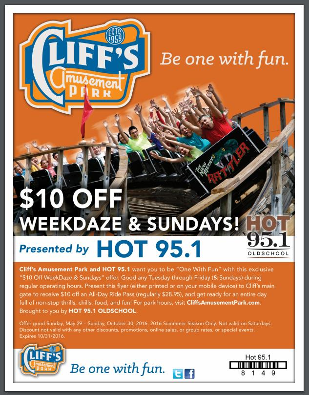 Discounts & Cliff's Amusement Park Coupons