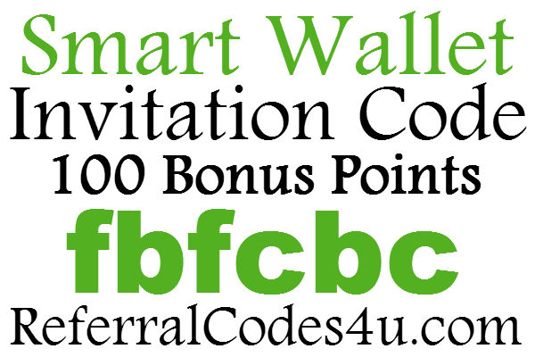 Smart Wallet App Invitation Code 2017, 100 Bonus Points Smart Wallet Referral Code, Smart Wallet Sign Up Bonus