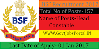 BSF Recruitment for Inspector and Sub Inspector Posts 2017